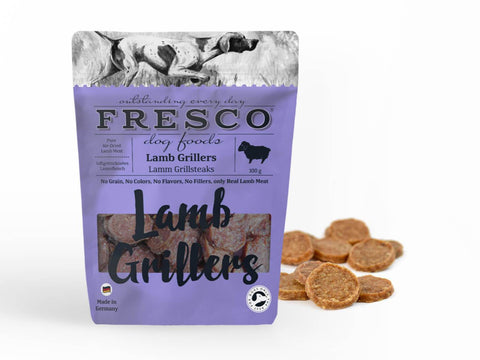 A bag of fresco lamb grillers with example grillers at the side.