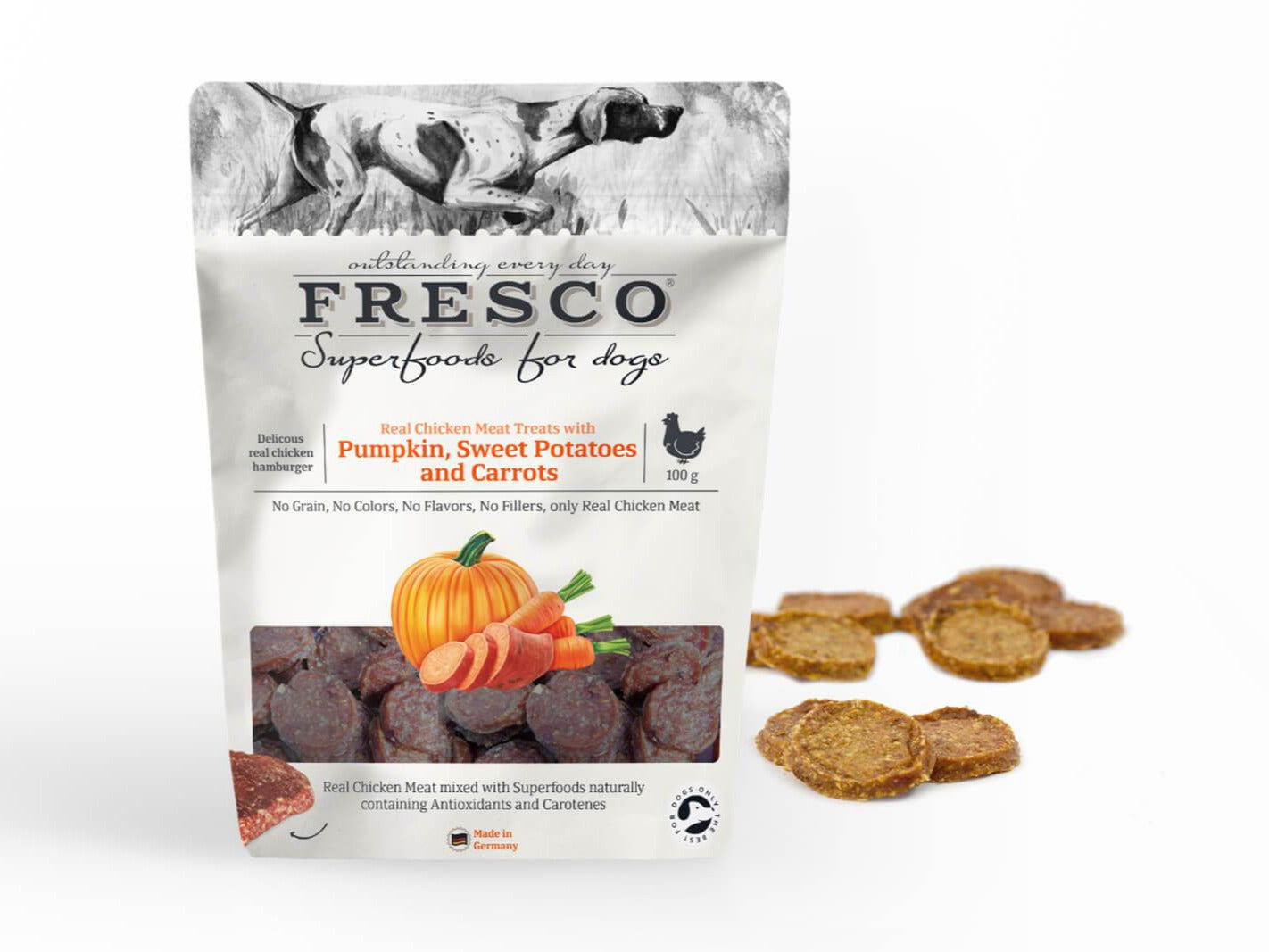 A bag of Fresco hamburgers with pumpkin, sweet potato and carrots with example hamburgers at the side