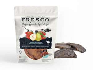 A bag of fresco superfood horse fillets with example fillets next to the bag