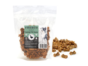 A bag of Fresco mini training bones in duck flavour