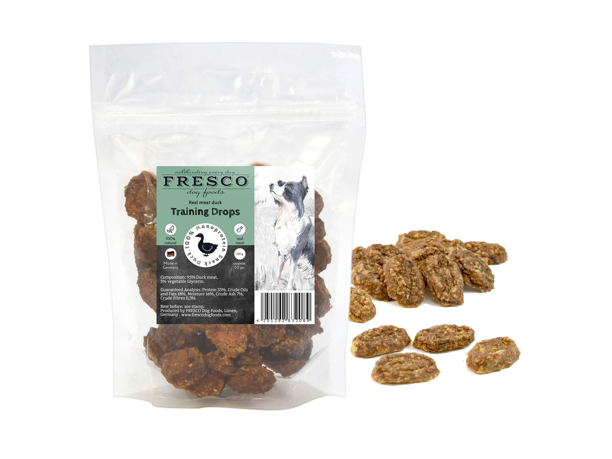 A bag of Fresco mini duck-flavoured training drops. Example drops are next to the bag.