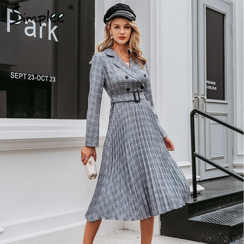Pleated & Plaid - Gray