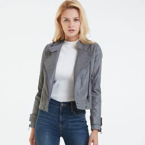 Gray Leather Jacket