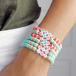 "Bracelet ""Little Words"" reste 1x MOM en corail"