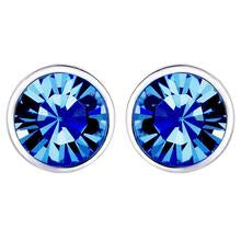 Stud Blue Embellished with Swarovski Crystals - 50% OFF / 18K White Gold Plated