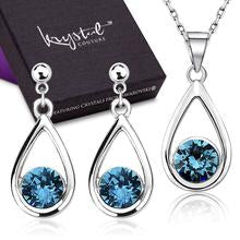 Dew Necklace And Earrings Set Embellished with Swarovski Crystals - 40% OFF