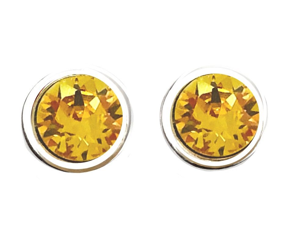 Stud Yellow  Embellished with Swarovski Crystals - 50% OFF  / 18K White Gold