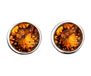 Stud Orange Embellished with Swarovski Crystals - 50% OFF  / 18K White Gold Plated