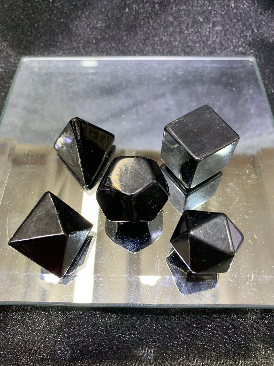 Shungite Platonic Solids