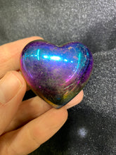 Load image into Gallery viewer, Rainbow Aura Crystal Puff Heart (Coated Crystal)