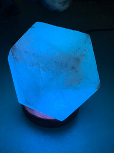 White Himalayan Salt Geometric USB Lamp - Rotating Colours (LED)
