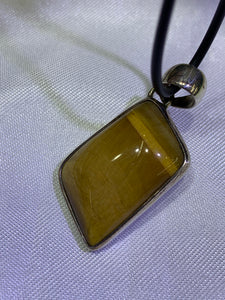 Yellow Tiger's Eye Pendant - Sterling Silver Frame