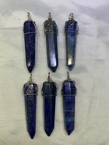 Lapis Lazuli Point Wire Wrapped Pendant