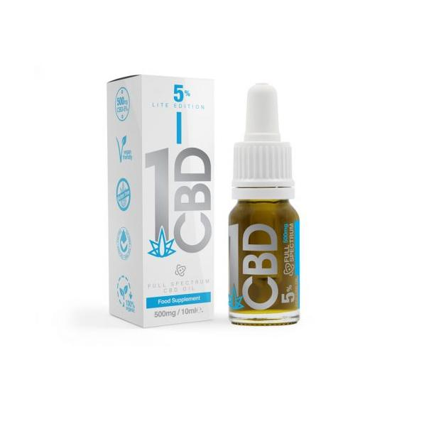 1CBD 5% Pure Hemp 500mg CBD Oil Lite Edition 10ml - aerizecbdworldwide