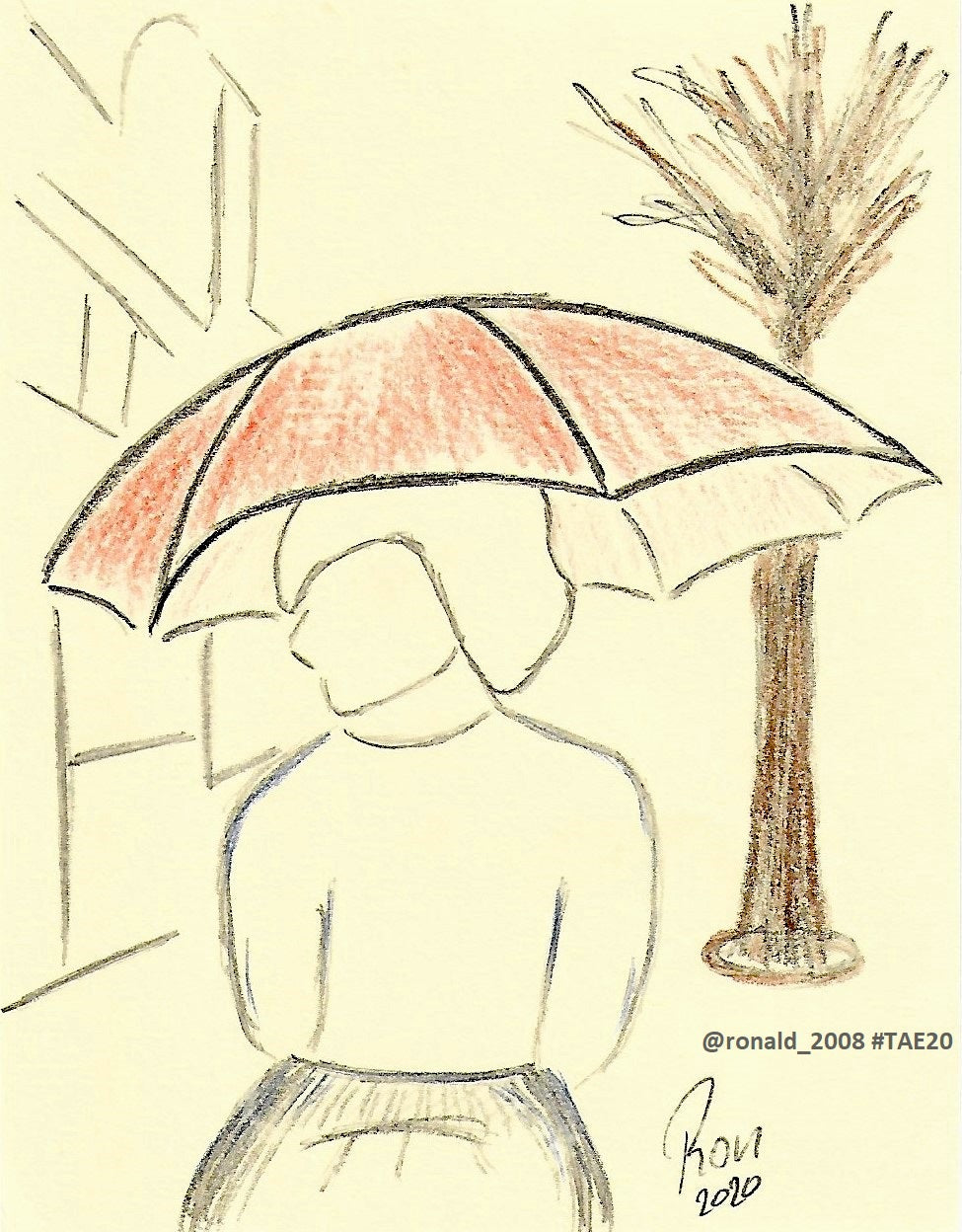 Lady with Orange Umbrella