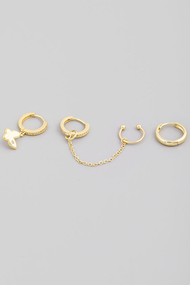 Butterfly Huggie Hoop Earrings Set