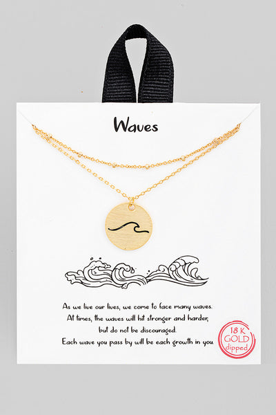 Wave Coin Necklace // Gold