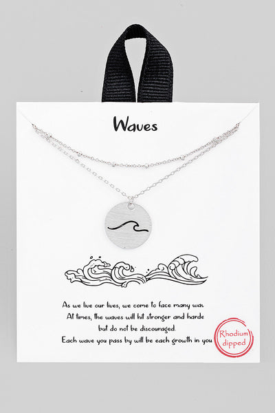Wave Coin Necklace // Silver