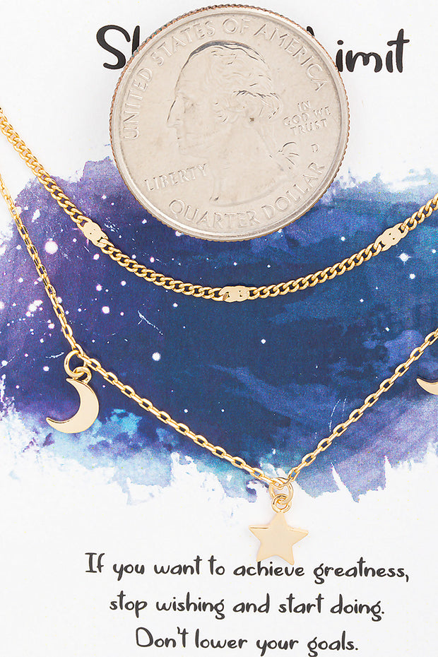 Layered Star and Moon Necklace // Gold