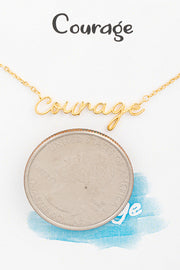Handwritten Courage Necklace // Gold