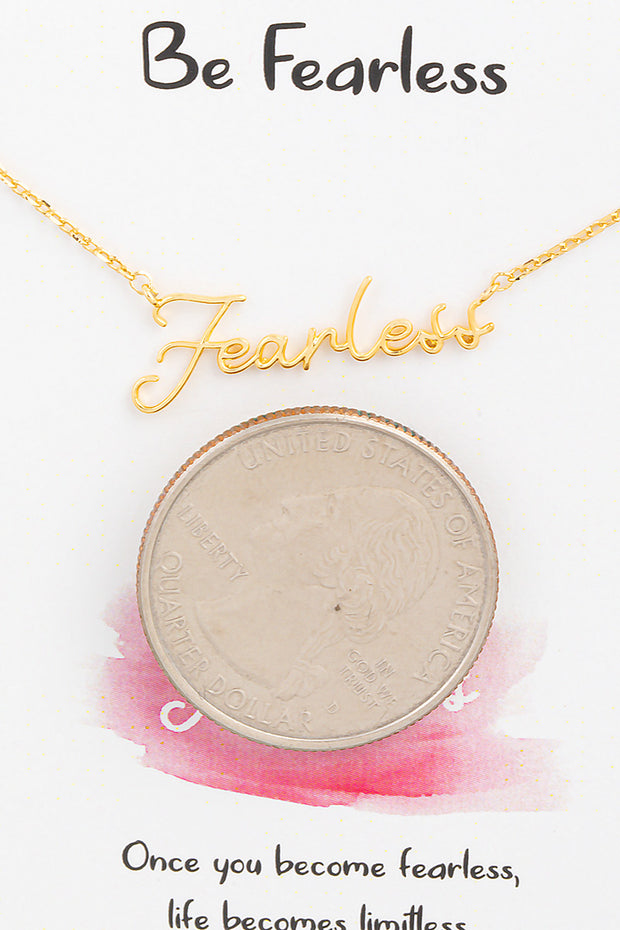 Handwritten Fearless Necklace // Gold