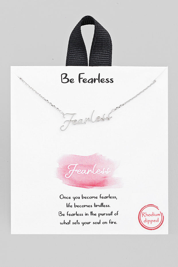 Handwritten Fearless Necklace // Silver