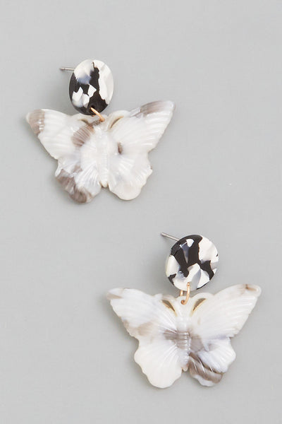 Acetate Butterfly Drop Earrings