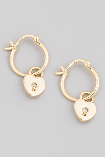 Mini Heart Lock Huggie Earrings