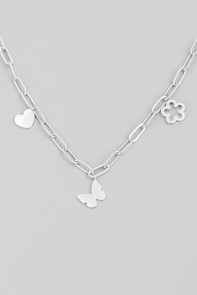 Butterfly Charm Chain Necklace // Silver