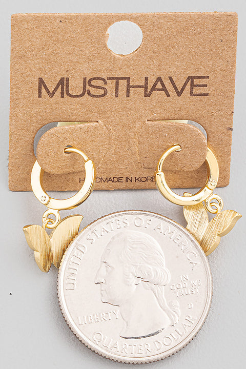 Mini Butterfly Hoop Drop Earrings // Gold