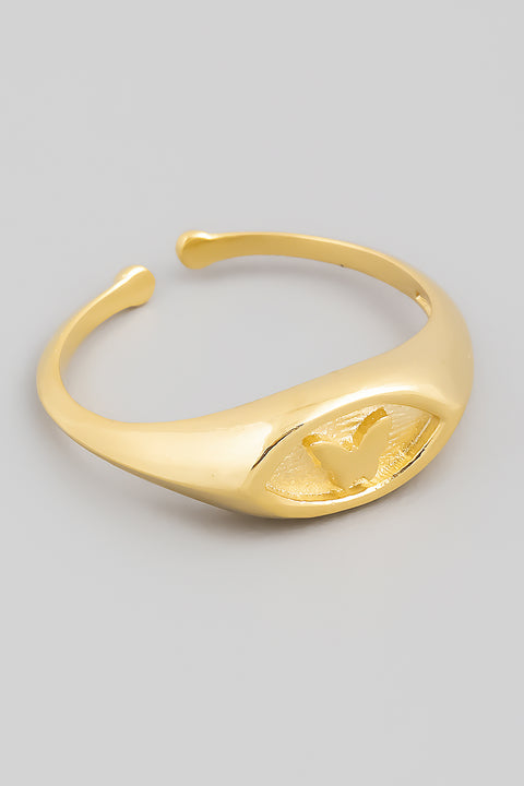 Adjustable Butterfly Signet Ring // Gold