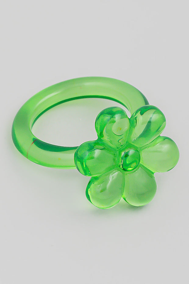 Resin Flower Ring // Green