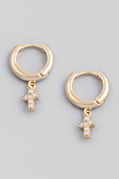 Mini Cross Hoop Earrings
