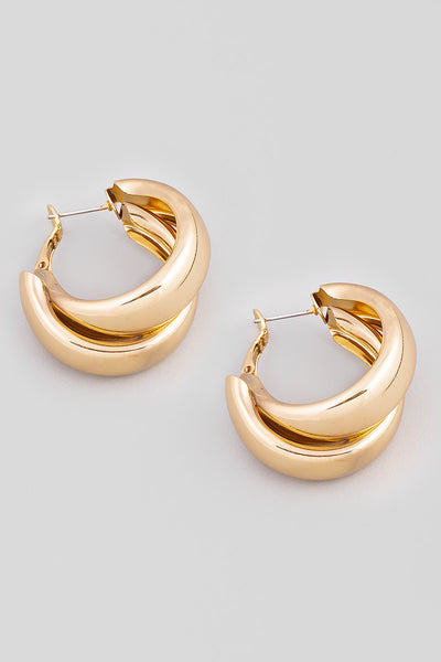 Double Latch Hoop Earrings