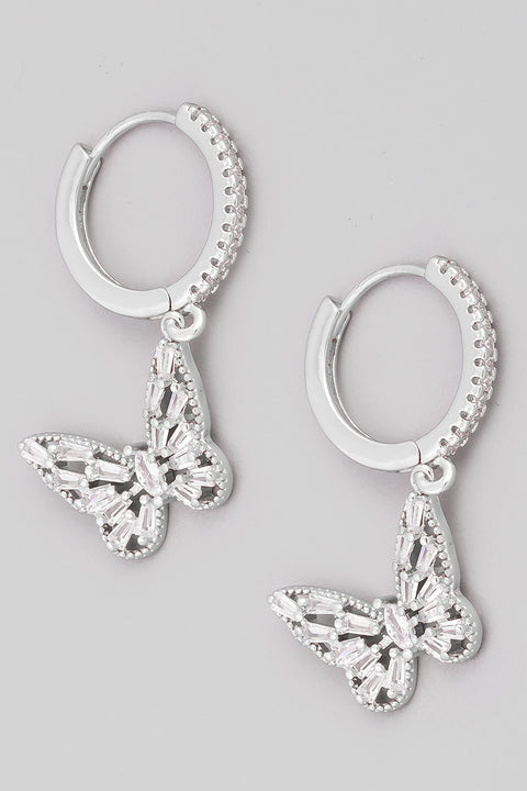 Mini Butterfly Huggie Earrings // Silver