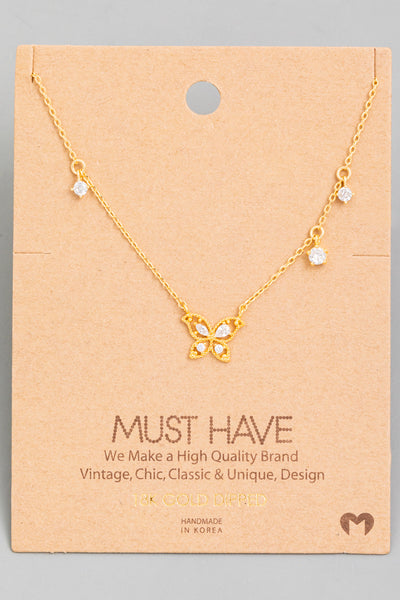 Rhinestone Detail Butterfly Necklace // Gold