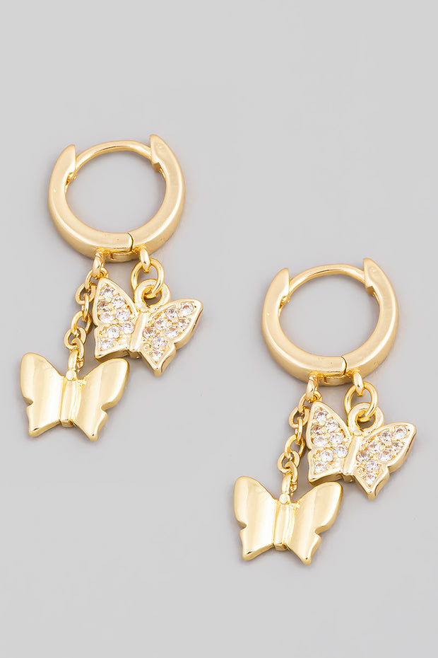 Mini Butterfly Huggie Drop Earrings // Gold