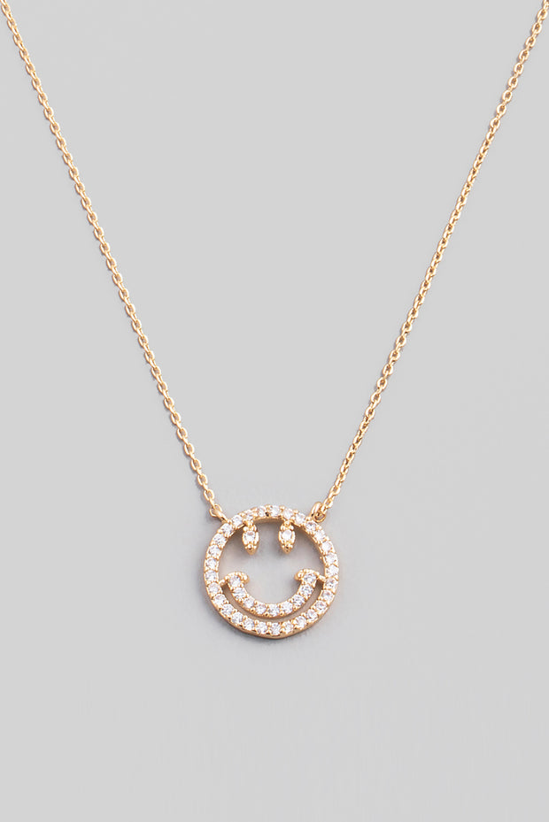Rhinestone Smiley Face Necklace // Gold