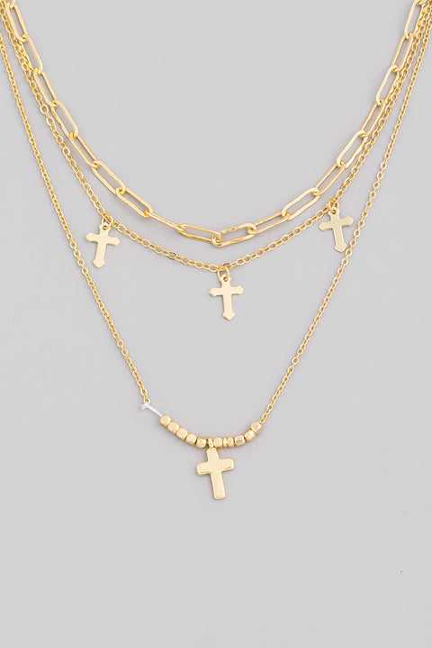 Multi Chain Cross Necklace