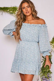 Lovely Floral Off the Shoulder Dress
