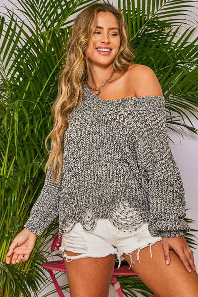 Rebel Style Destroyed Detail Sweater