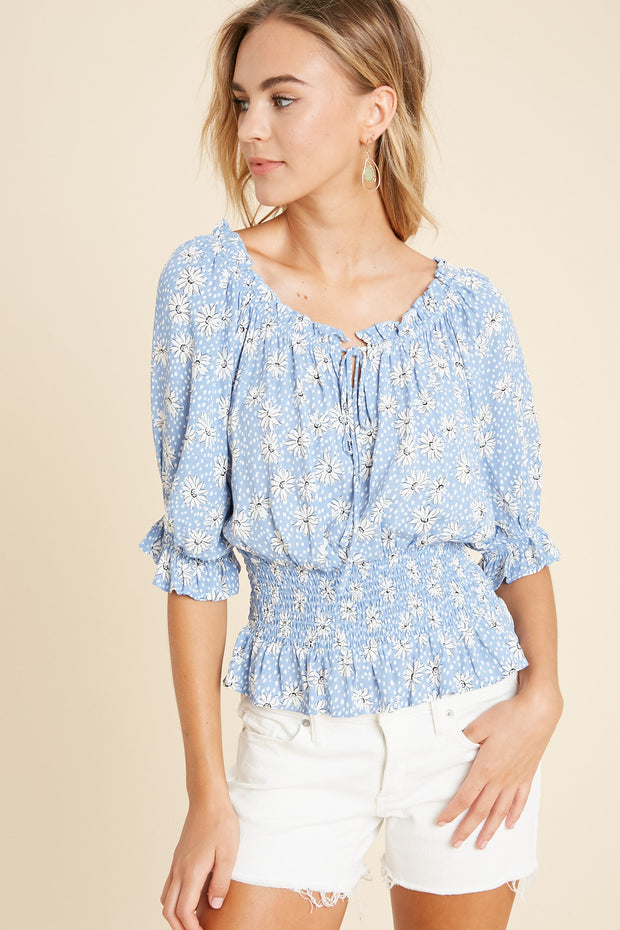 Afternoon Light Floral Smocked Top