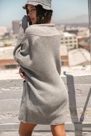 Along The Way Waffle Open Cardigan // Heather Grey