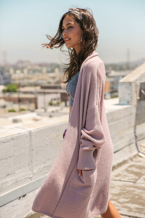 Along The Way Waffle Open Cardigan // Light Mauve