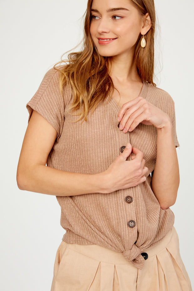 Back in Town Front Tie Button-Down Top