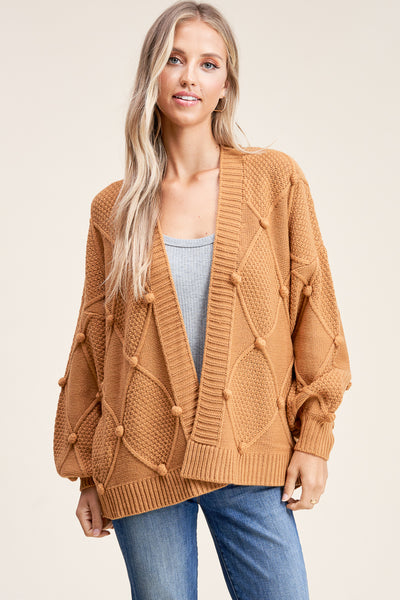 Coffee and Cuddles Mustard Pom Cardigan