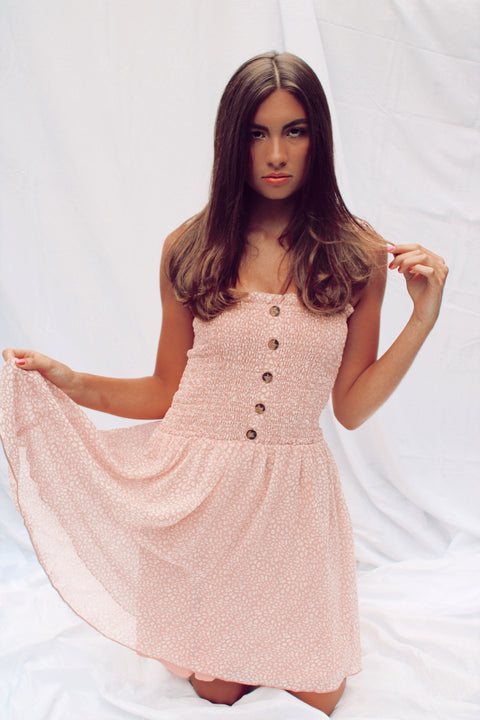 Blushing For You Smocked Dress