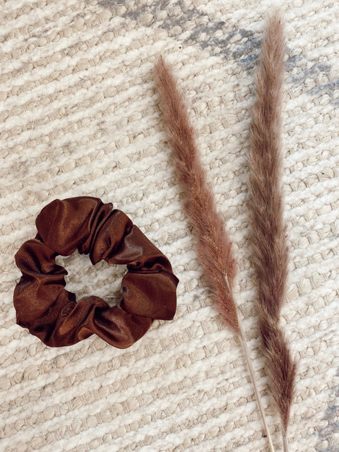 Brown Chiffon Scrunchie