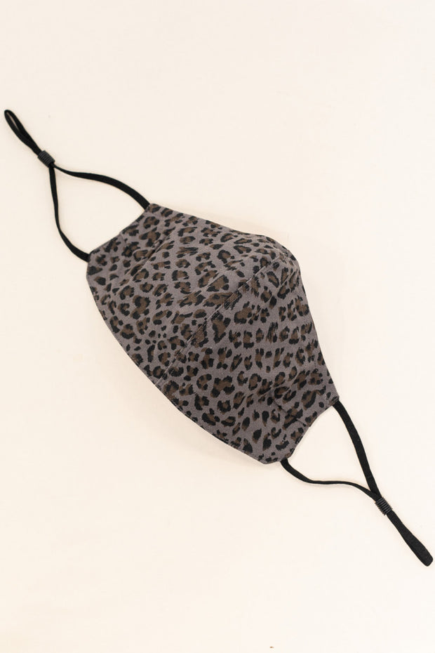 Leopard Print Face Mask // Charcoal Brown
