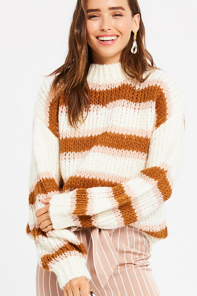 Brunch with Bubbly Multi-Stripe Pullover Knit Sweater